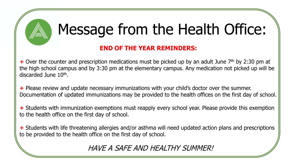 Message from the Health Office