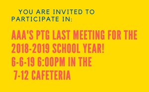 Last PTG meeting - 6/6/19 at 6:00 PM