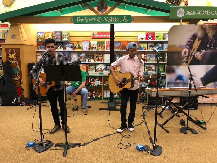 Students performing at Barnes and Noble.