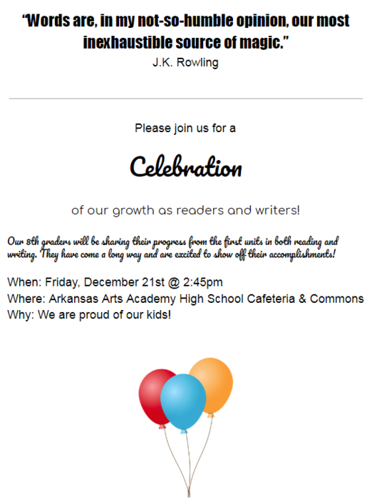 Reading and Writing Celebration Invite