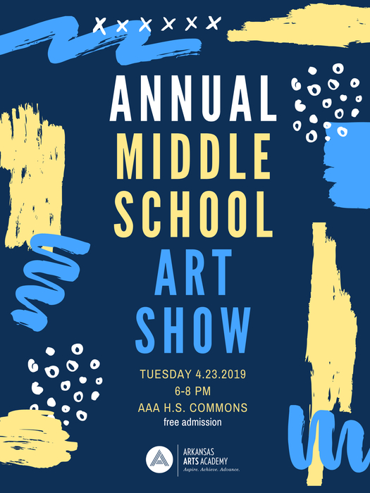 AAA 7th and 8th grade students are excited to show off what they have been creating all year in their visual art classes! Bring your family and friends to the art show April 23rd !!!