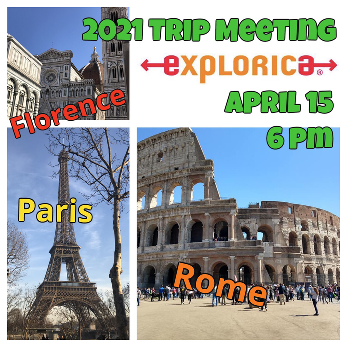 Mrs McWilliams will be taking AAA students on a new adventure to Italy & France! If your student will be a sophomore or older during the 2020/21 school year, come to the informational meeting to ask all your questions!! APRIL 15 @ 6pm in HS Commons.