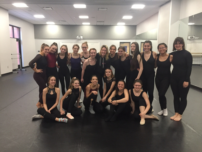 Dance students in master class with Lulu Lloyd from the cast of The Waitress.