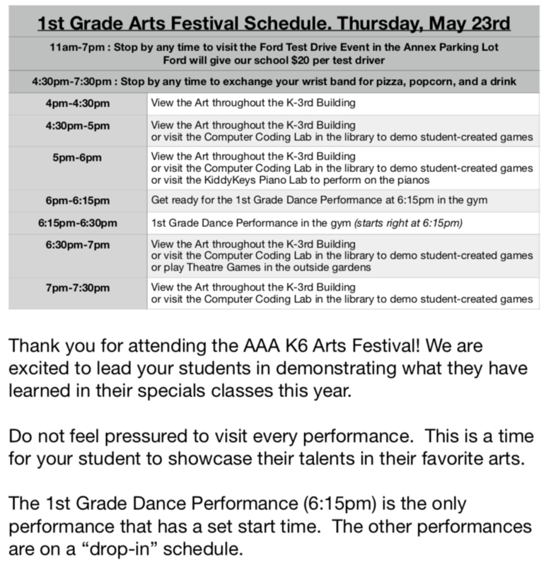 Schedule for K-6 Arts Festival